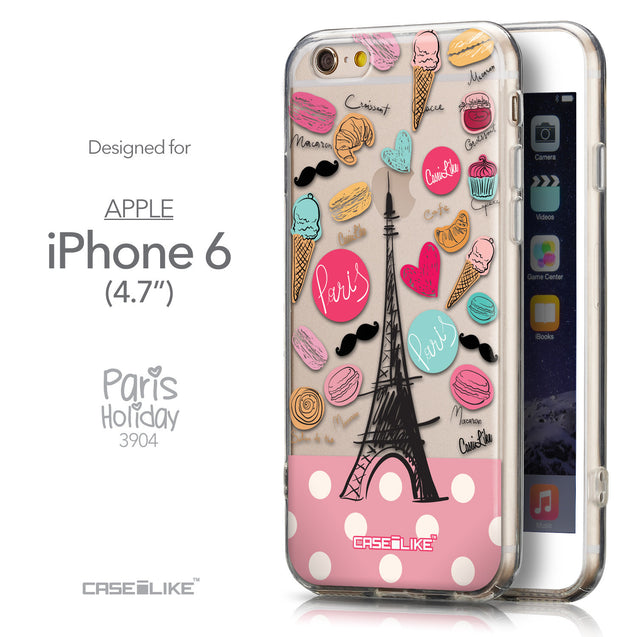 Front & Side View - CASEiLIKE Apple iPhone 6 back cover Paris Holiday 3904
