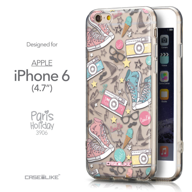Front & Side View - CASEiLIKE Apple iPhone 6 back cover Paris Holiday 3906