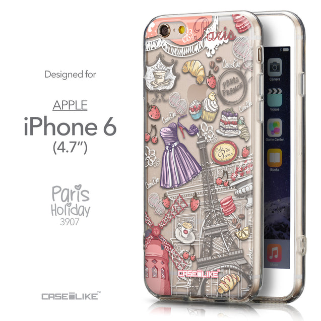 Front & Side View - CASEiLIKE Apple iPhone 6 back cover Paris Holiday 3907
