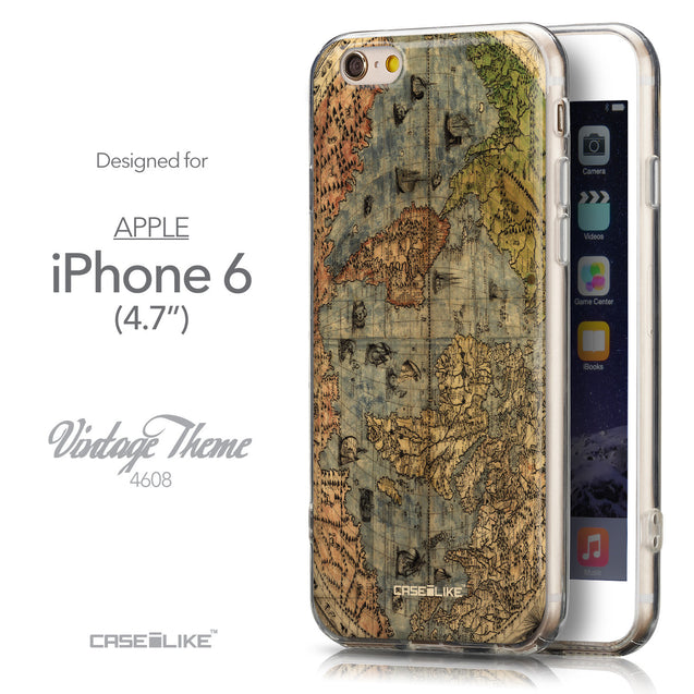 Front & Side View - CASEiLIKE Apple iPhone 6 back cover World Map Vintage 4608