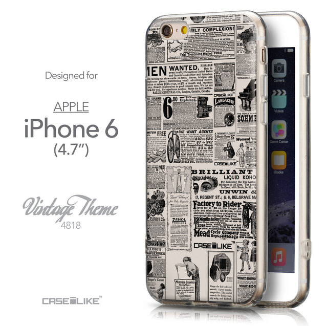Front & Side View - CASEiLIKE Apple iPhone 6 back cover Vintage Newspaper Advertising 4818