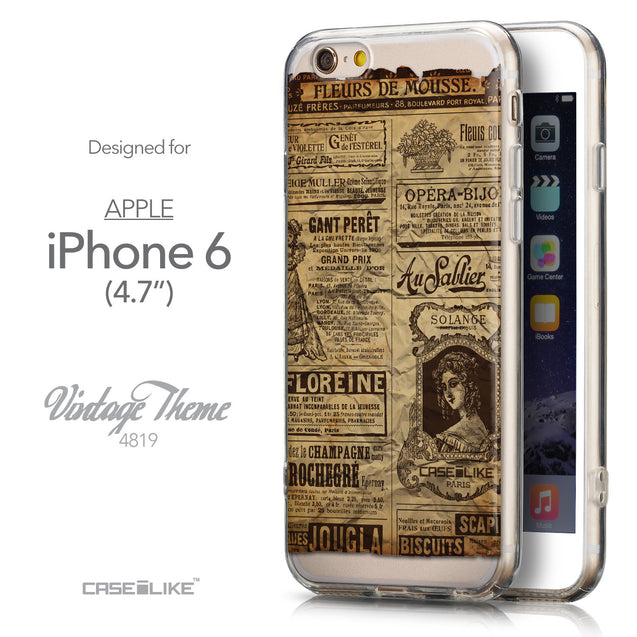 Front & Side View - CASEiLIKE Apple iPhone 6 back cover Vintage Newspaper Advertising 4819
