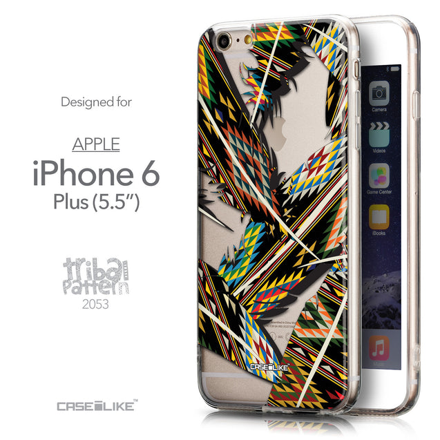 Front & Side View - CASEiLIKE Apple iPhone 6 Plus back cover Indian 2053 Tribal Theme Pattern