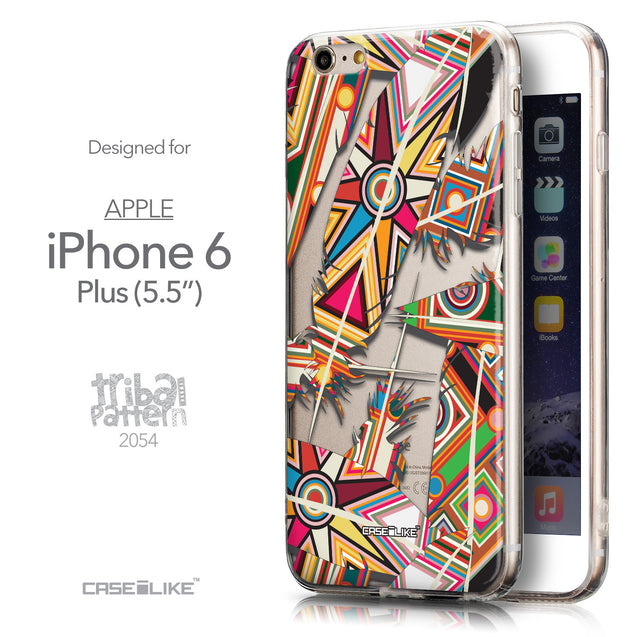 Front & Side View - CASEiLIKE Apple iPhone 6 Plus back cover Indian 2054 Tribal Theme Pattern