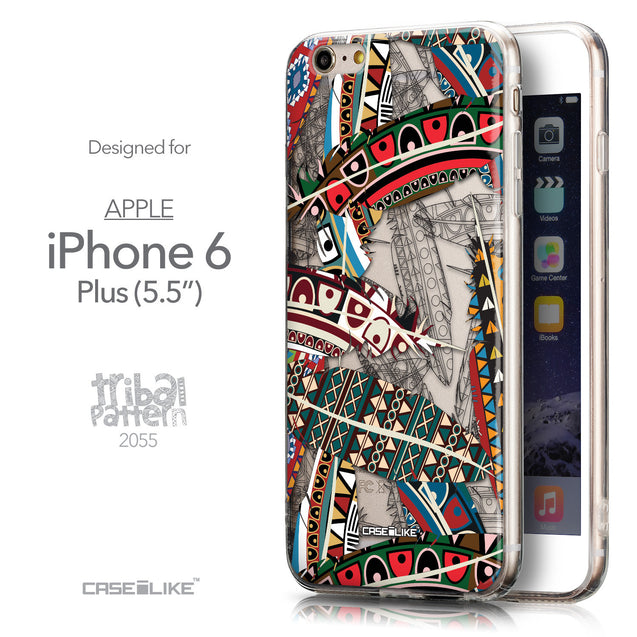 Front & Side View - CASEiLIKE Apple iPhone 6 Plus back cover Indian 2055 Tribal Theme Pattern