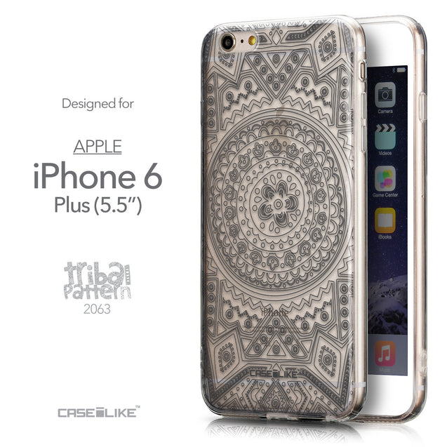 Front & Side View - CASEiLIKE Apple iPhone 6 Plus back cover Indian Line Art 2063