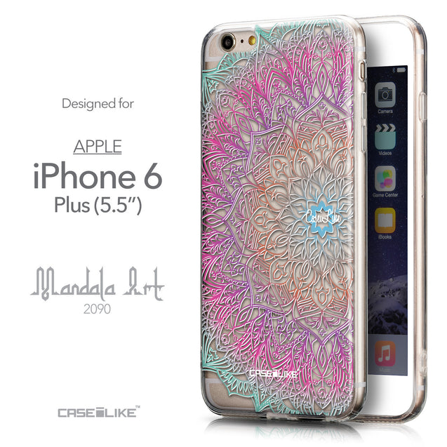 Front & Side View - CASEiLIKE Apple iPhone 6 Plus back cover Mandala Art 2090