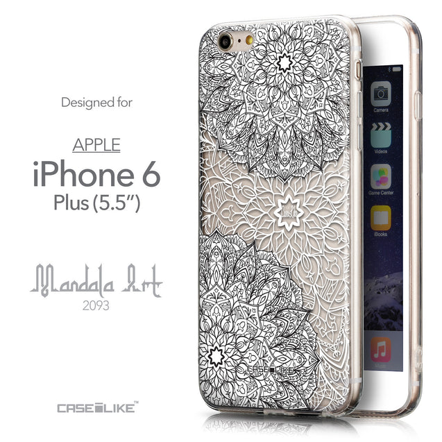 Front & Side View - CASEiLIKE Apple iPhone 6 Plus back cover Mandala Art 2093