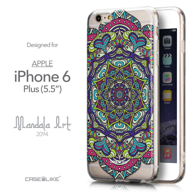 Front & Side View - CASEiLIKE Apple iPhone 6 Plus back cover Mandala Art 2094