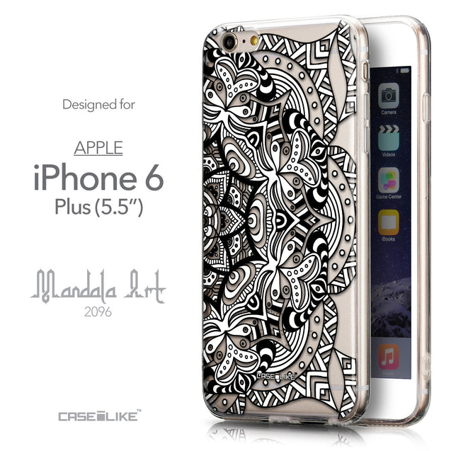 Front & Side View - CASEiLIKE Apple iPhone 6 Plus back cover Mandala Art 2096