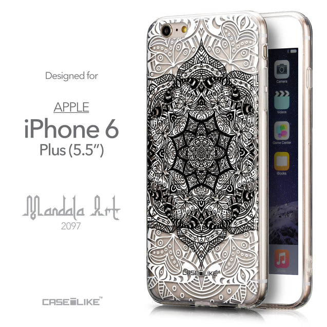 Front & Side View - CASEiLIKE Apple iPhone 6 Plus back cover Mandala Art 2097