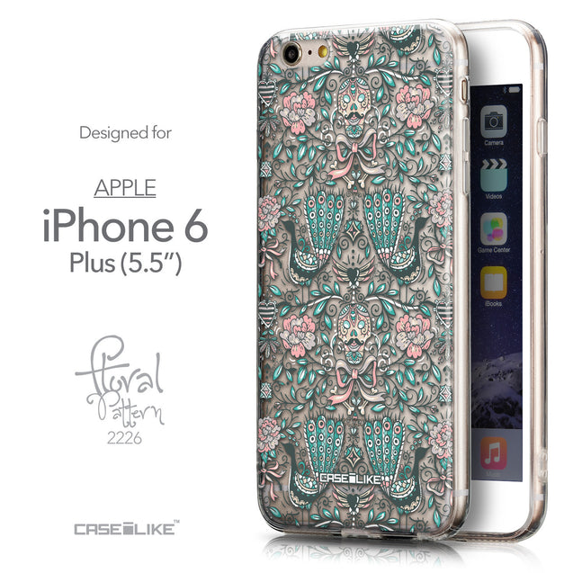 Front & Side View - CASEiLIKE Apple iPhone 6 Plus back cover Roses Ornamental Skulls Peacocks 2226