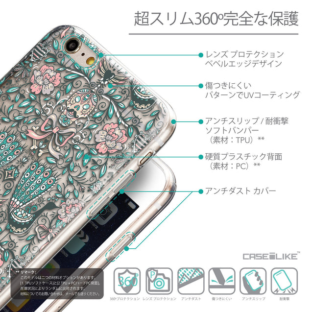 Details in Japanese - CASEiLIKE Apple iPhone 6 Plus back cover Roses Ornamental Skulls Peacocks 2226