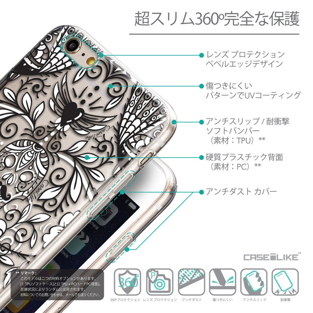 Details in Japanese - CASEiLIKE Apple iPhone 6 Plus back cover Roses Ornamental Skulls Peacocks 2227