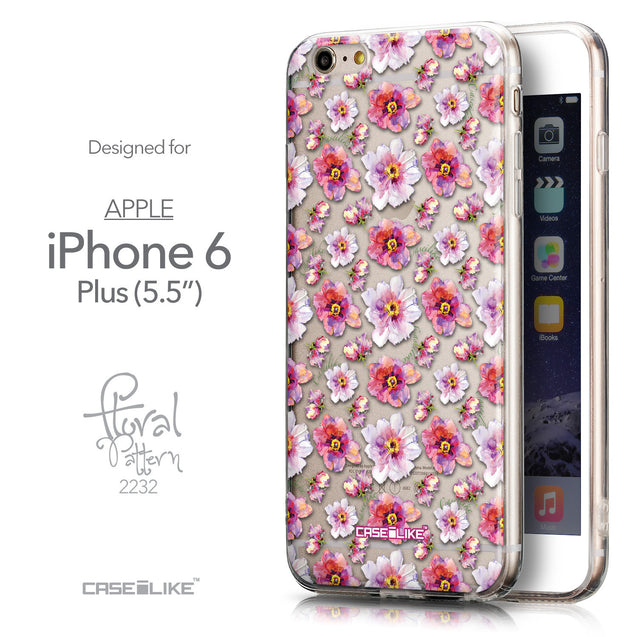 Front & Side View - CASEiLIKE Apple iPhone 6 Plus back cover Watercolor Floral 2232