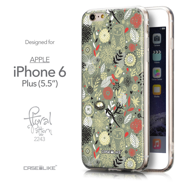 Front & Side View - CASEiLIKE Apple iPhone 6 Plus back cover Spring Forest Gray 2243