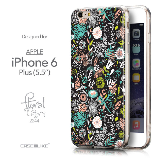 Front & Side View - CASEiLIKE Apple iPhone 6 Plus back cover Spring Forest Black 2244