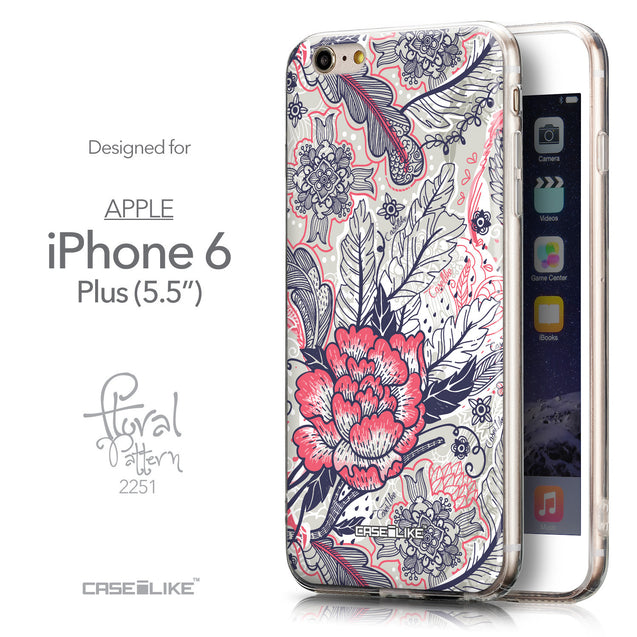 Front & Side View - CASEiLIKE Apple iPhone 6 Plus back cover Vintage Roses and Feathers Beige 2251