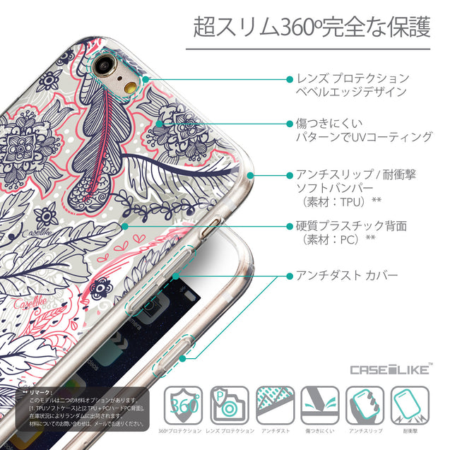 Details in Japanese - CASEiLIKE Apple iPhone 6 Plus back cover Vintage Roses and Feathers Beige 2251