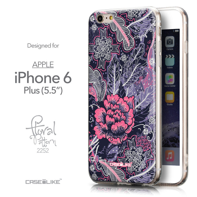 Front & Side View - CASEiLIKE Apple iPhone 6 Plus back cover Vintage Roses and Feathers Blue 2252