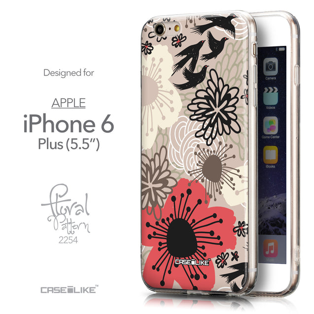 Front & Side View - CASEiLIKE Apple iPhone 6 Plus back cover Japanese Floral 2254