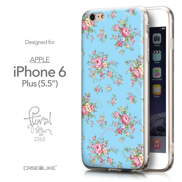 Front & Side View - CASEiLIKE Apple iPhone 6 Plus back cover Floral Rose Classic 2263