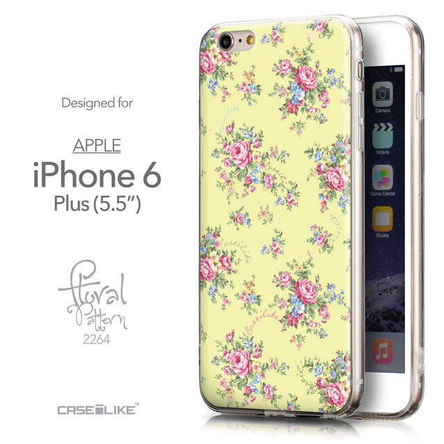 Front & Side View - CASEiLIKE Apple iPhone 6 Plus back cover Floral Rose Classic 2264