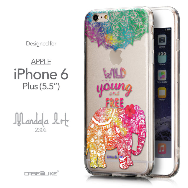 Front & Side View - CASEiLIKE Apple iPhone 6 Plus back cover Mandala Art 2302
