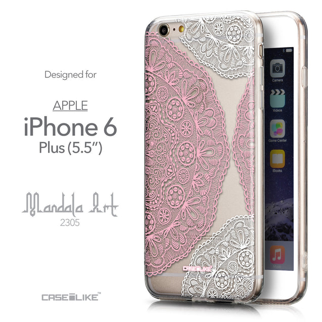 Front & Side View - CASEiLIKE Apple iPhone 6 Plus back cover Mandala Art 2305
