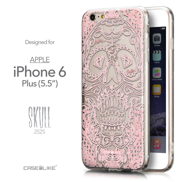 Front & Side View - CASEiLIKE Apple iPhone 6 Plus back cover Art of Skull 2525