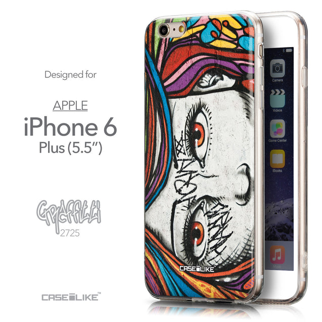 Front & Side View - CASEiLIKE Apple iPhone 6 Plus back cover Graffiti Girl 2725