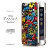 Front & Side View - CASEiLIKE Apple iPhone 6 Plus back cover Comic Captions Black 2915