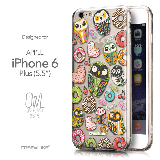 Front & Side View - CASEiLIKE Apple iPhone 6 Plus back cover Owl Graphic Design 3315