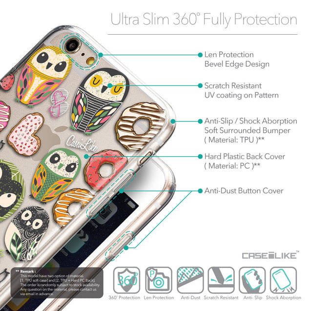 Details in English - CASEiLIKE Apple iPhone 6 Plus back cover Owl Graphic Design 3315