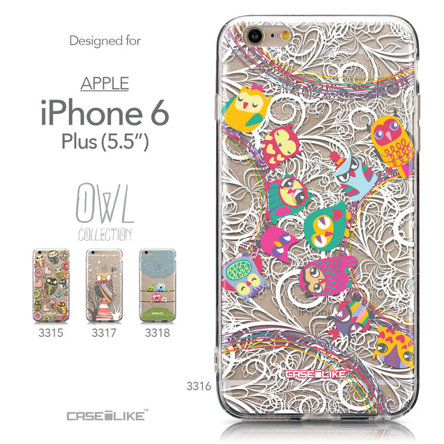 Collection - CASEiLIKE Apple iPhone 6 Plus back cover Owl Graphic Design 3316