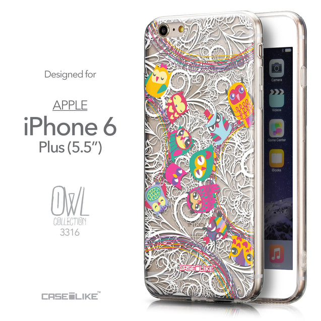 Front & Side View - CASEiLIKE Apple iPhone 6 Plus back cover Owl Graphic Design 3316