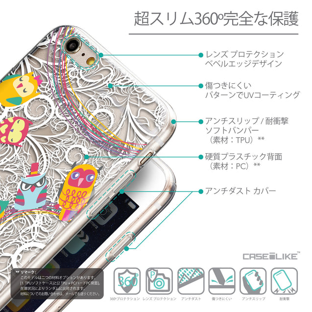 Details in Japanese - CASEiLIKE Apple iPhone 6 Plus back cover Owl Graphic Design 3316