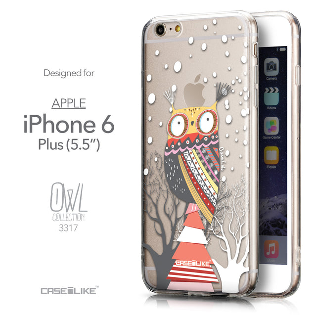 Front & Side View - CASEiLIKE Apple iPhone 6 Plus back cover Owl Graphic Design 3317