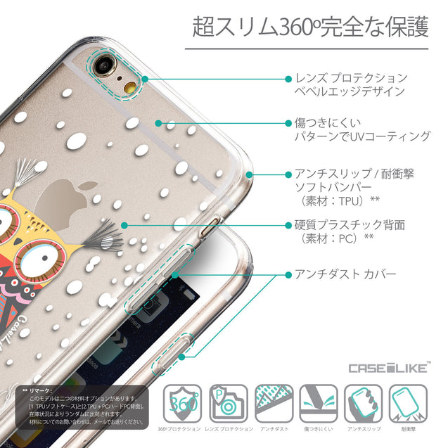 Details in Japanese - CASEiLIKE Apple iPhone 6 Plus back cover Owl Graphic Design 3317