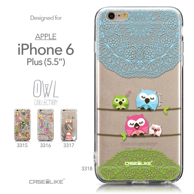 Collection - CASEiLIKE Apple iPhone 6 Plus back cover Owl Graphic Design 3318