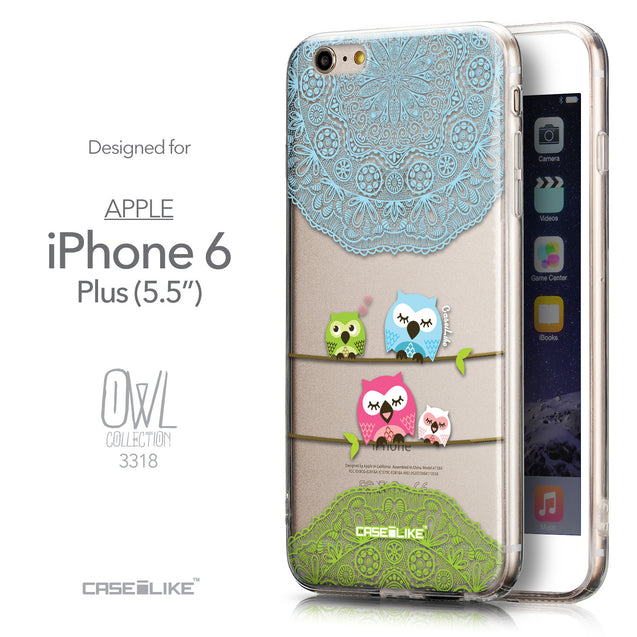 Front & Side View - CASEiLIKE Apple iPhone 6 Plus back cover Owl Graphic Design 3318