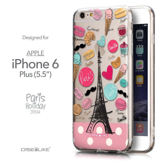 Front & Side View - CASEiLIKE Apple iPhone 6 Plus back cover Paris Holiday 3904