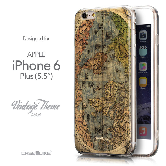 Front & Side View - CASEiLIKE Apple iPhone 6 Plus back cover World Map Vintage 4608
