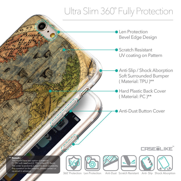 Details in English - CASEiLIKE Apple iPhone 6 Plus back cover World Map Vintage 4608