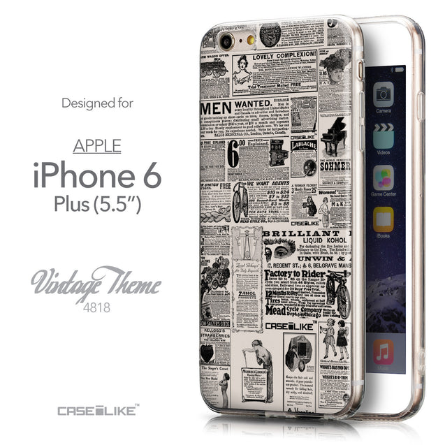 Front & Side View - CASEiLIKE Apple iPhone 6 Plus back cover Vintage Newspaper Advertising 4818