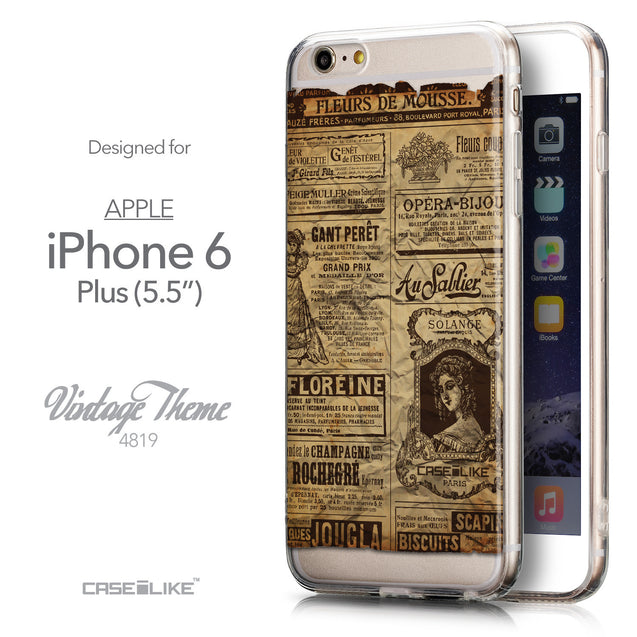 Front & Side View - CASEiLIKE Apple iPhone 6 Plus back cover Vintage Newspaper Advertising 4819