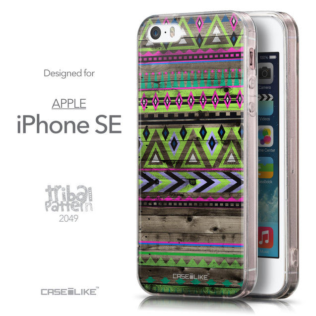 Front & Side View - CASEiLIKE Apple iPhone SE back cover Indian Tribal Theme Pattern 2049