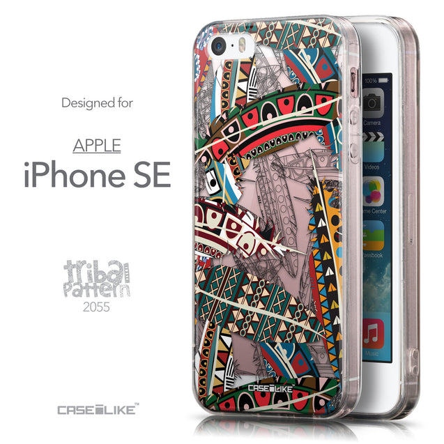 Front & Side View - CASEiLIKE Apple iPhone SE back cover Indian Tribal Theme Pattern 2055