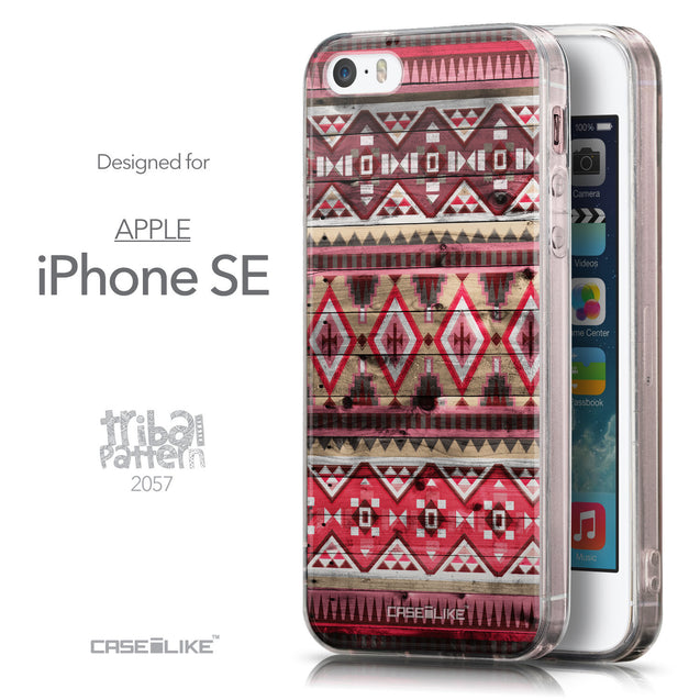 Front & Side View - CASEiLIKE Apple iPhone SE back cover Indian Tribal Theme Pattern 2057