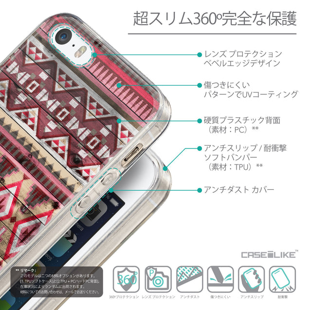 Details in Japanese - CASEiLIKE Apple iPhone SE back cover Indian Tribal Theme Pattern 2057